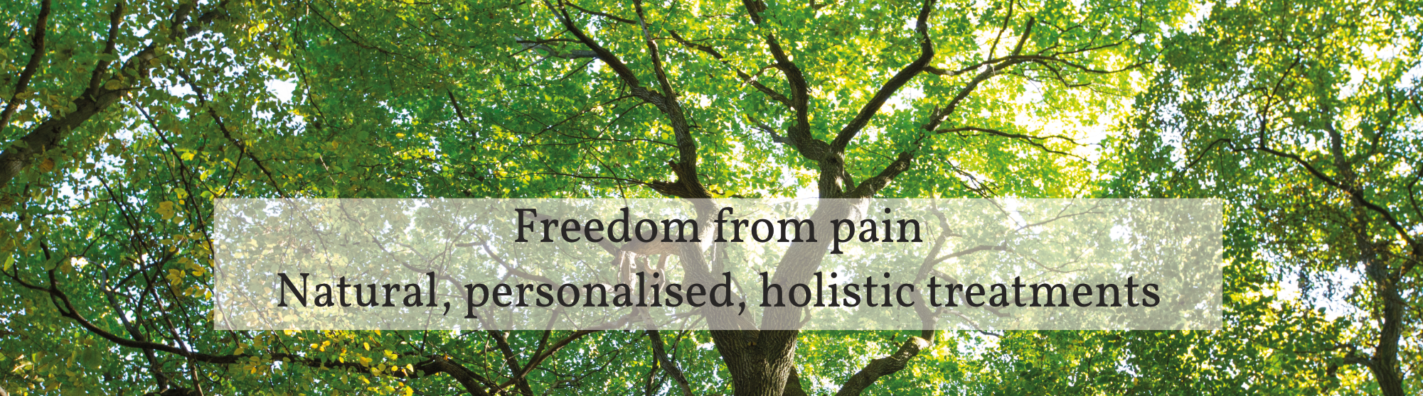 Freedom from pain. Natural, personalised, holistic treatments.
