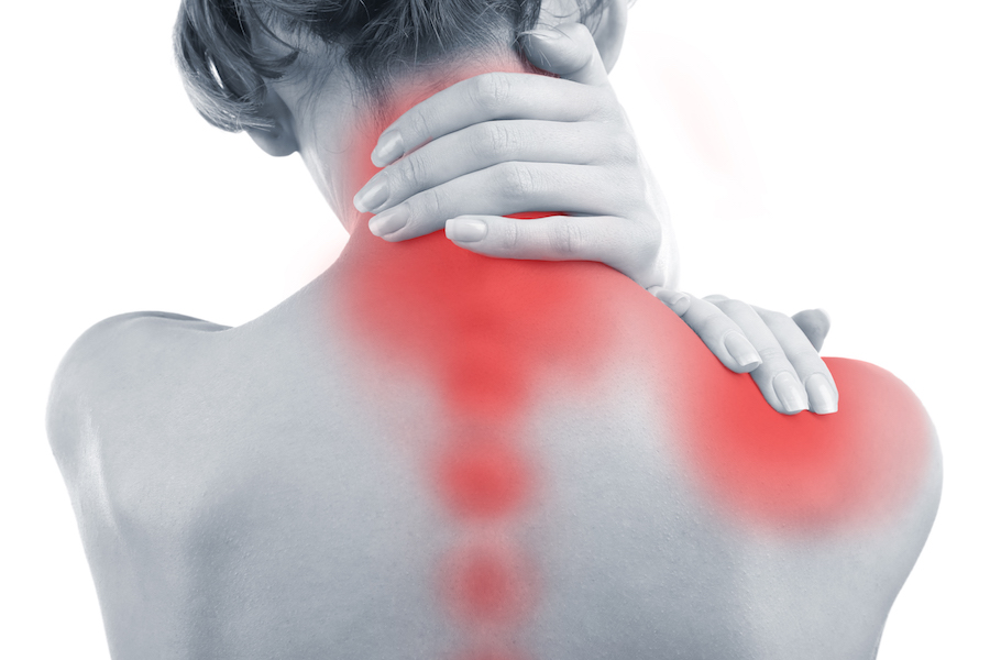 Person with neck and shoulder pain